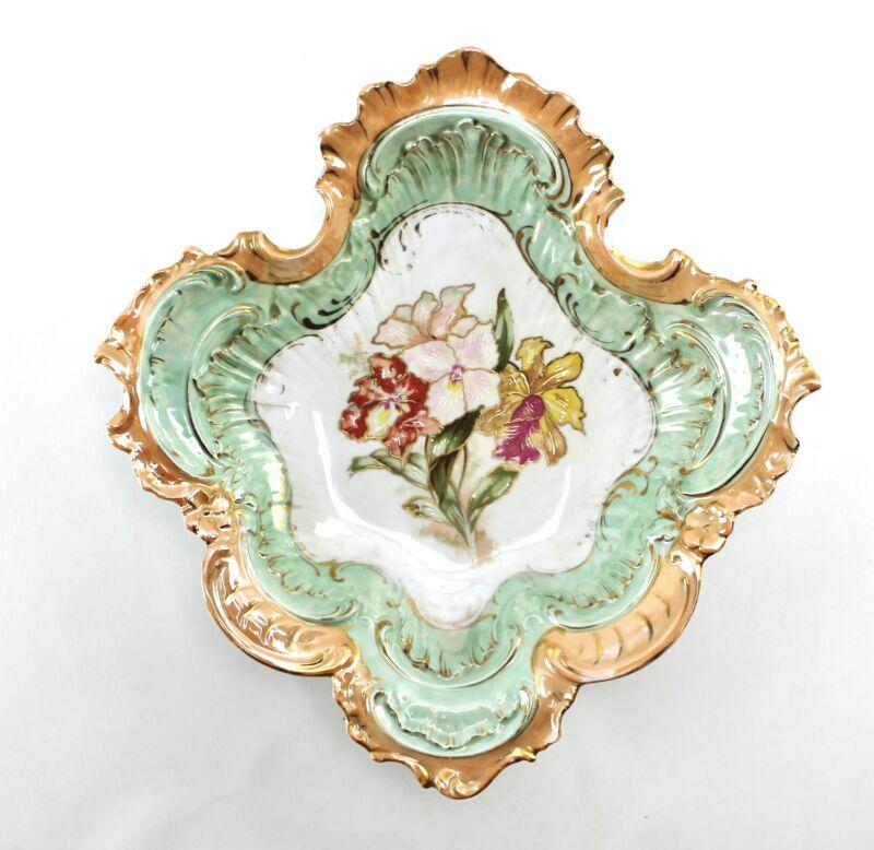 Antique Peach Green Flower Ornate Gold Lusterware Bowl ES Germany Schlegelmilch