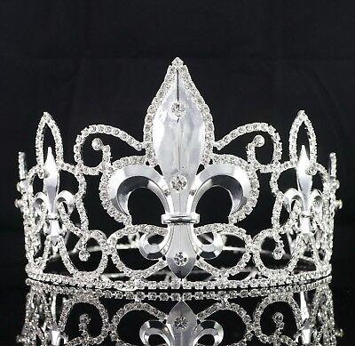 Large Full King's Metal Crown Austrian Rhinestone Crystal Fleur-De-Lis Wed T82s (Metal King Crown)