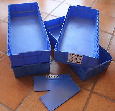 4 STÜCK SSI Schäfer Regalkisten RK 621B und Trenner RKT 421B 521B blau online kaufen