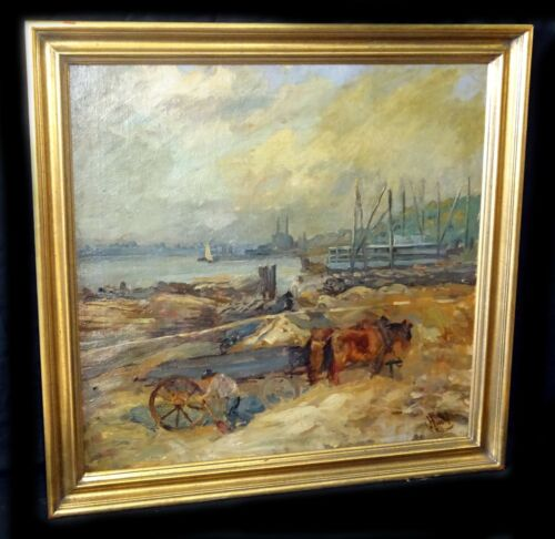 "1910s Oil Painting ""cart By River"" By George Overbury (pop) Hart (1868-33) (new)"