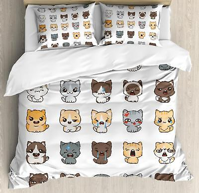 Cartoon Emoji Duvet Cover Set Twin Queen King Sizes with Pil