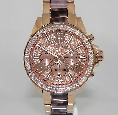 Michael Kors MK6159 Wren Crystal Pave Chronograph Rose Gold Dial Watch