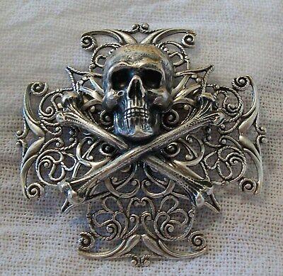 SKULL & CROSSBONES Silver pltd BROOCH Steampunk Halloween Costume Pirate Hat Pin