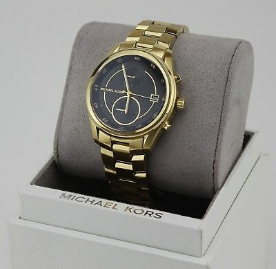NEW AUTHENTIC MICHAEL KORS BRIAR CHRONOGRAPH GOLD BLACK WOMEN'S MK6497 WATCH