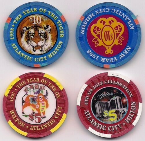 4 Atlantic City HILTON LEs (2X$10+2X$5) Casino ChipS Chinese NEW YEAR, JULY 4th+