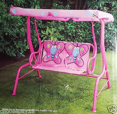 Butterfly Garden Seat (Garden Outdoor Patio Metal Swing Chair Kids Butterfly 2 Seater Hammock Pink)