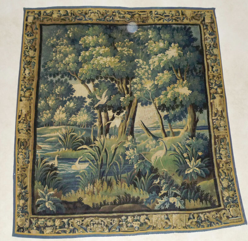 Antique French wool 18th Century Aubusson Tapestry, 8 X 9 Feet