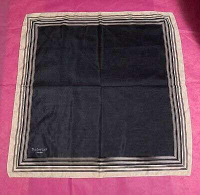 "Vintage Authentic BURBERRY LONDON Black SILK 19"" Scarf Swiss Made EUC"