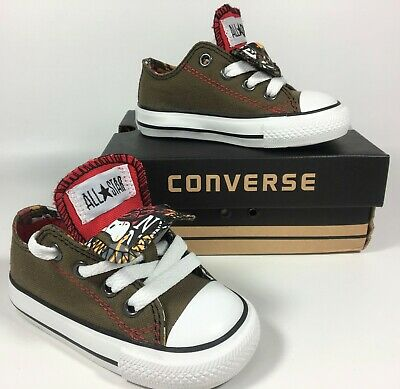 Baby Boys Converse All Stars Green & Red Double Tongue Trainers Shoes...