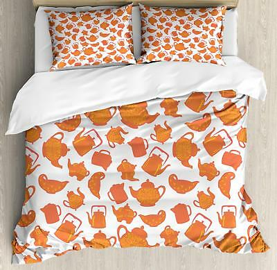 Tea Duvet Cover Set Twin Queen King Sizes with Pillow Shams