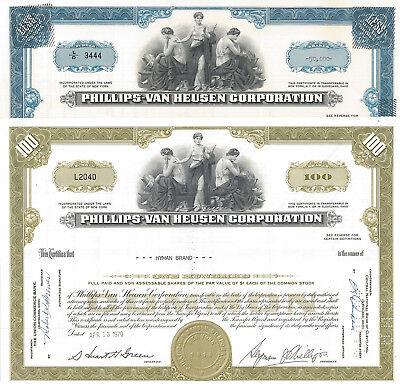 Phillips Van Heusen   Set Of 2 1970S New York Stock Certificates Pvh