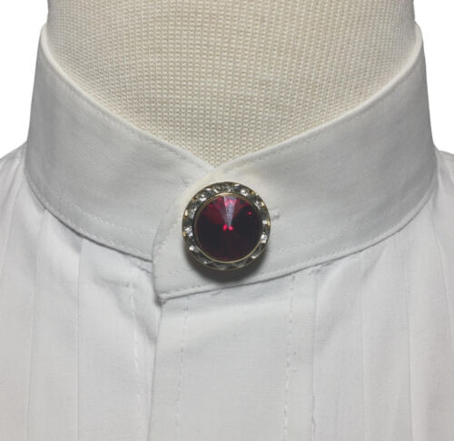 NEW Red Faux Ruby & Diamond Button Cover - Nehru Banded Collar