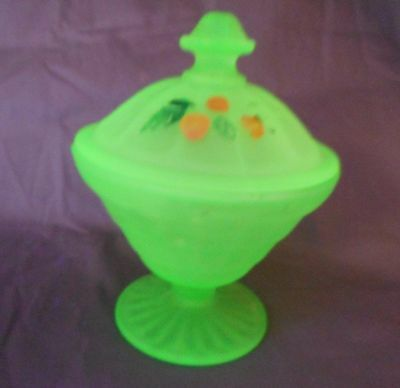 ANCHOR HOCKING FROSTED GREEN URANIUM HAND PAINTED BLOCK OPTIC COVERED CANDY #2