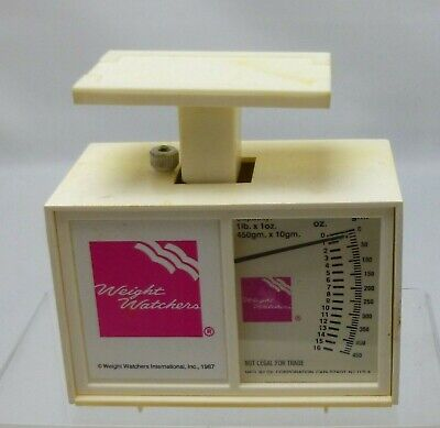 Vintage Weight Watchers Calibrated Food Scale 1lb 16oz White & Pink 1987 Works