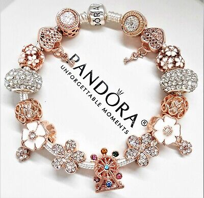 Authentic Pandora Silver Bracelet With Rose Gold Crystal Flowers European Charms