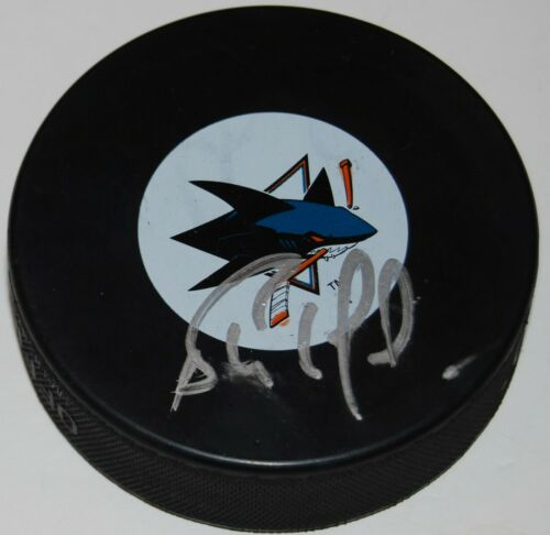 BERNIE NICHOLLS signed (SAN JOSE SHARKS) souvenir logo hockey puck W/COA