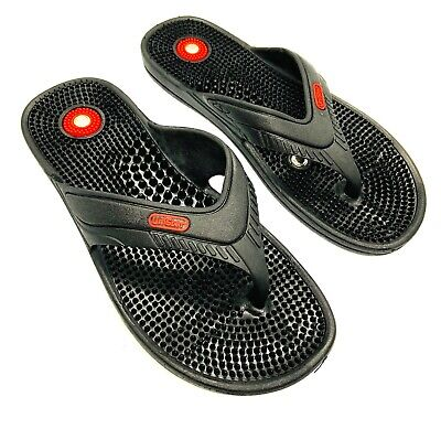 Acupressure Acupunture Magnetic Slippers Sandal Therapy Massager Men Women BLK (Magnetic Slippers)