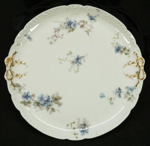 Antique GDA France CH Field Haviland Limoges Blue Violet Plate Gold Bow Ribbon