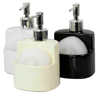 Home Basics NEW Ceramic Liquid Soap Dispenser with Sponge Holder Dish - SD41149 Ceramic Liquid Soap Dispenser