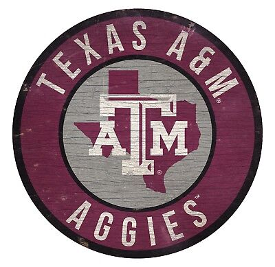 Texas A&m Decorations (Texas A&M Aggies Circle w/ State Wood Sign NEW 12