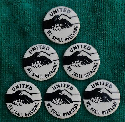 United - We Shall Overcome button joined hands 1964-65 lot of 6 very 'woke'