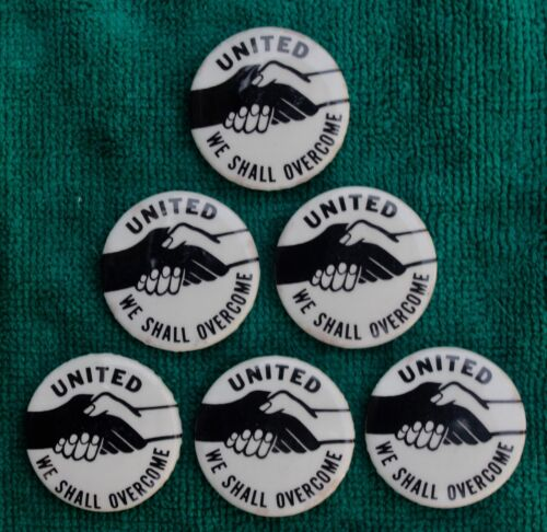 United - We Shall Overcome button joined hands 1964-65 lot of 6 very