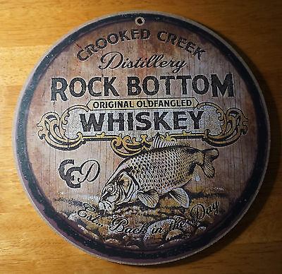 CROOKED CREEK DISTILLERY WHISKEY BARREL LID SIGN Fishing Cabin Lodge Bar Decor