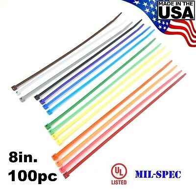 Color Zip Cable Ties 8 40lbs 100pc Made In Usa Nylon Wire Tie Wraps