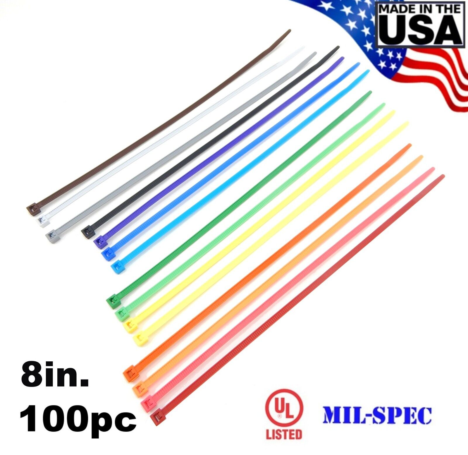 """Color Zip Cable Ties 8"""" 40lbs 100pc Made in USA Nylon Wire T"""