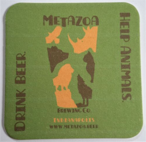 CRAFT BEER COASTER ONE Metazoa Brewing Co Indianapolis IN-META-1 4""