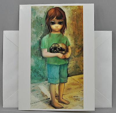 Walter Margaret Keane Greeting Card BIG EYES NEW PUPPY 1964 Blank Burton