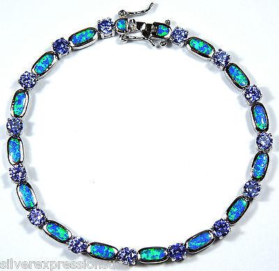 Tanzanite & Blue Fire Opal Inlay 925 Sterling Silver Link Tennis Bracelet 7.5''