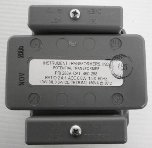 Instrument Transformers INC. 460-288 Transformer 150VA 288V Ratio 2.4:1 60Hz