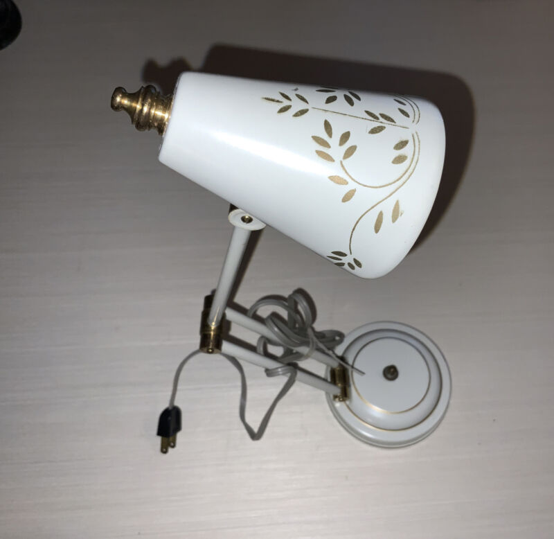 White & Gold Adjustable Neck Vintage Tole Mid Century Modern Desk Lamp~Works