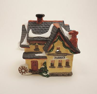 Dickens Keepsake Porcelain Lighted House Fabrics Shop Christmas Village