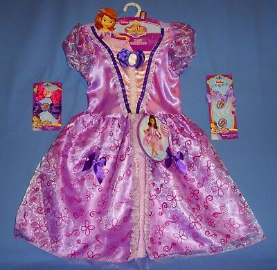 DISNEY SOFIA THE FIRST PRINCESS COSTUME DRESS GIRLS-4-6X;JEWELRY-HAIR BOWS-LOT-6 - Princess Sofia The First