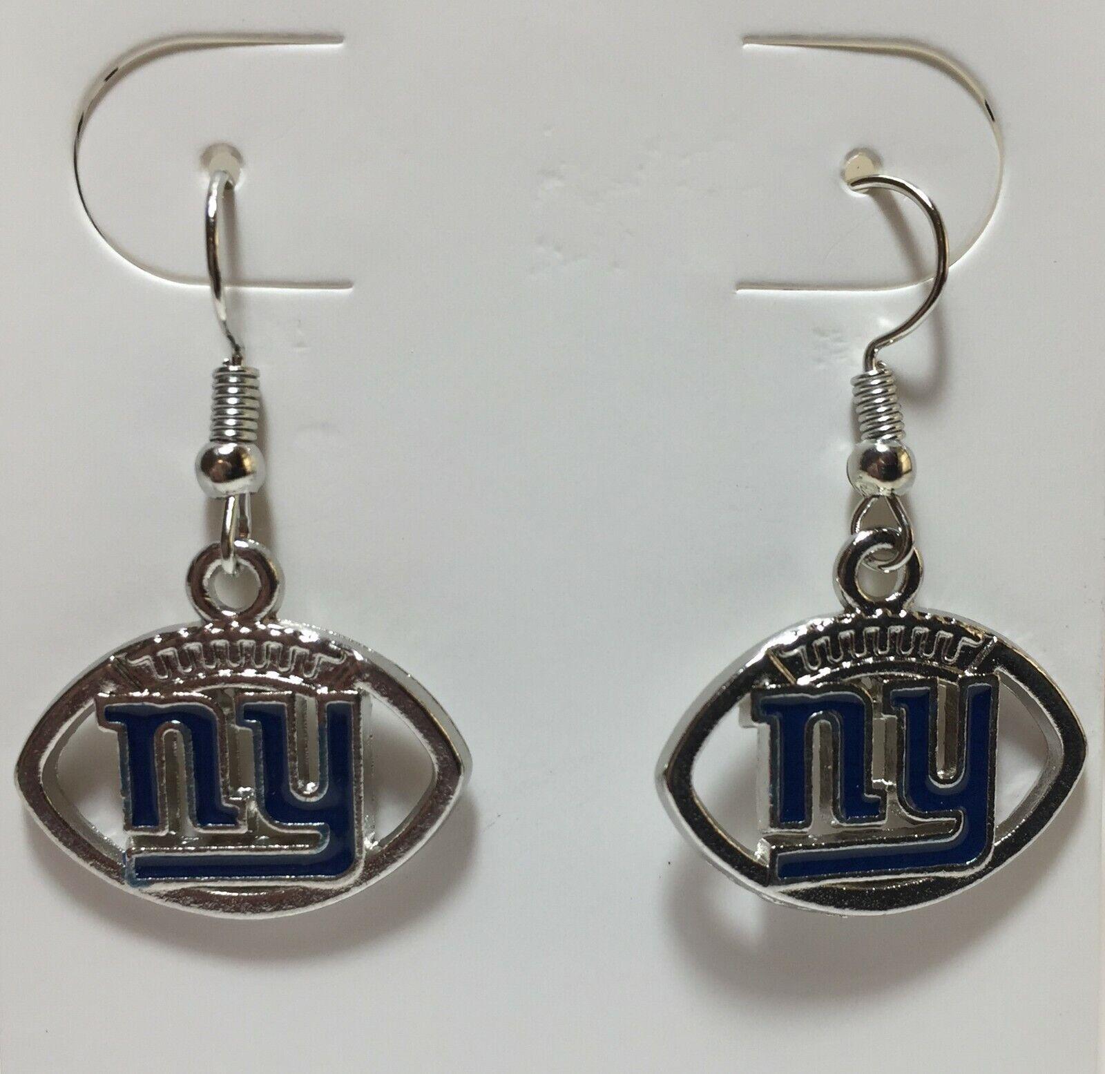 New York Giants Football Shape Fish Hook Earrings, Gift for