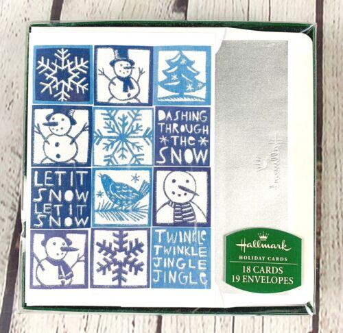 HALLMARK Boxed Set Christmas Cards Blue Glitter Snowmen/Snowflakes Foil-18 Cards