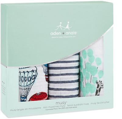 Aden + Anais CLASSIC MUSY 3 PACK DREAM RIDE Baby Feeding Bibs Burp Cloths BN