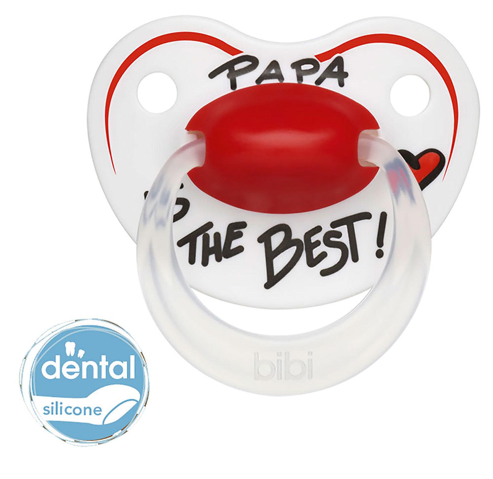 bibi Schnuller Dentalsauger aus Silikon PAPA IS THE BEST in 3 Größen Kieferform