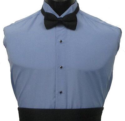 Periwinkle Blue Wing Collar Tuxedo Dress Shirt Prom Wedding Halloween Costume