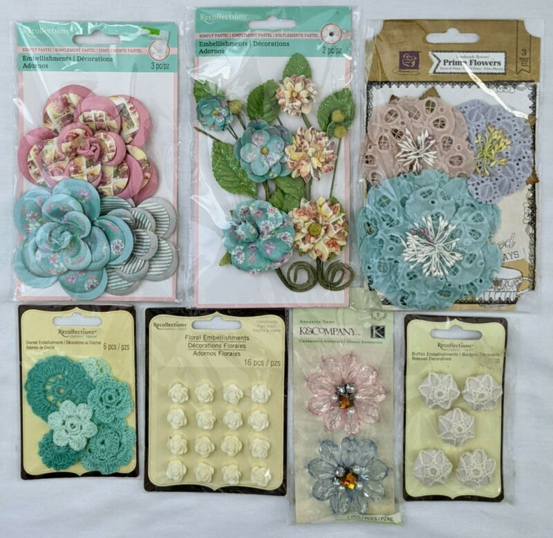 Flowers Floral Scrapbooking Embellishments Recollections Prima K&Co Lot of 7