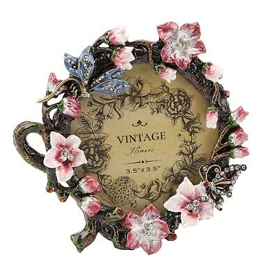 Round Enamelled Butterfly Dragonfly Crystal Photo / Picture Frame Vintage Style - Fashion Photo Picture Frame