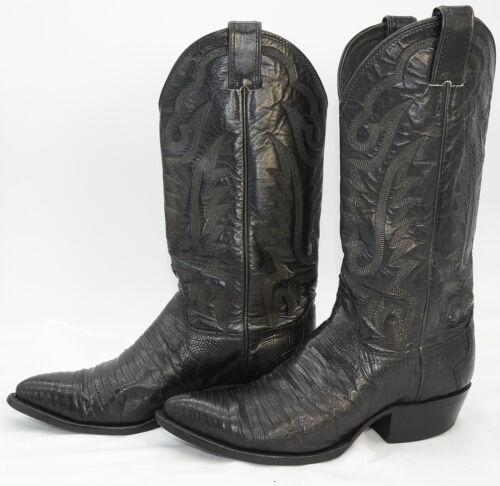 JUSTIN, LIZARD, Skin, USA, Mens, Sz, 7, Leather, Western, Cowboy, Riding, Work, Black, Boots