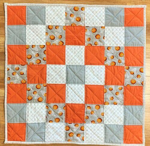 Baby Boy Basketball Quilt Handmade Crib Blanket Grey Orange New