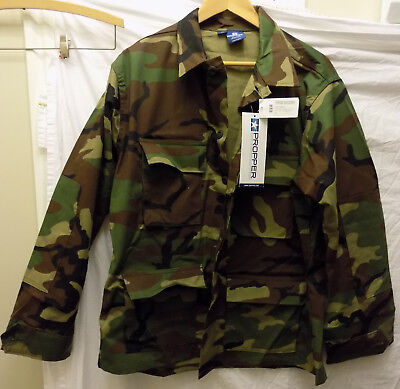 New Men's Propper BDU Shirt Coat Jacket 4PKT 4 Pocket Woodland Camo Ripstop L/S Camo Propper Bdu Shirt
