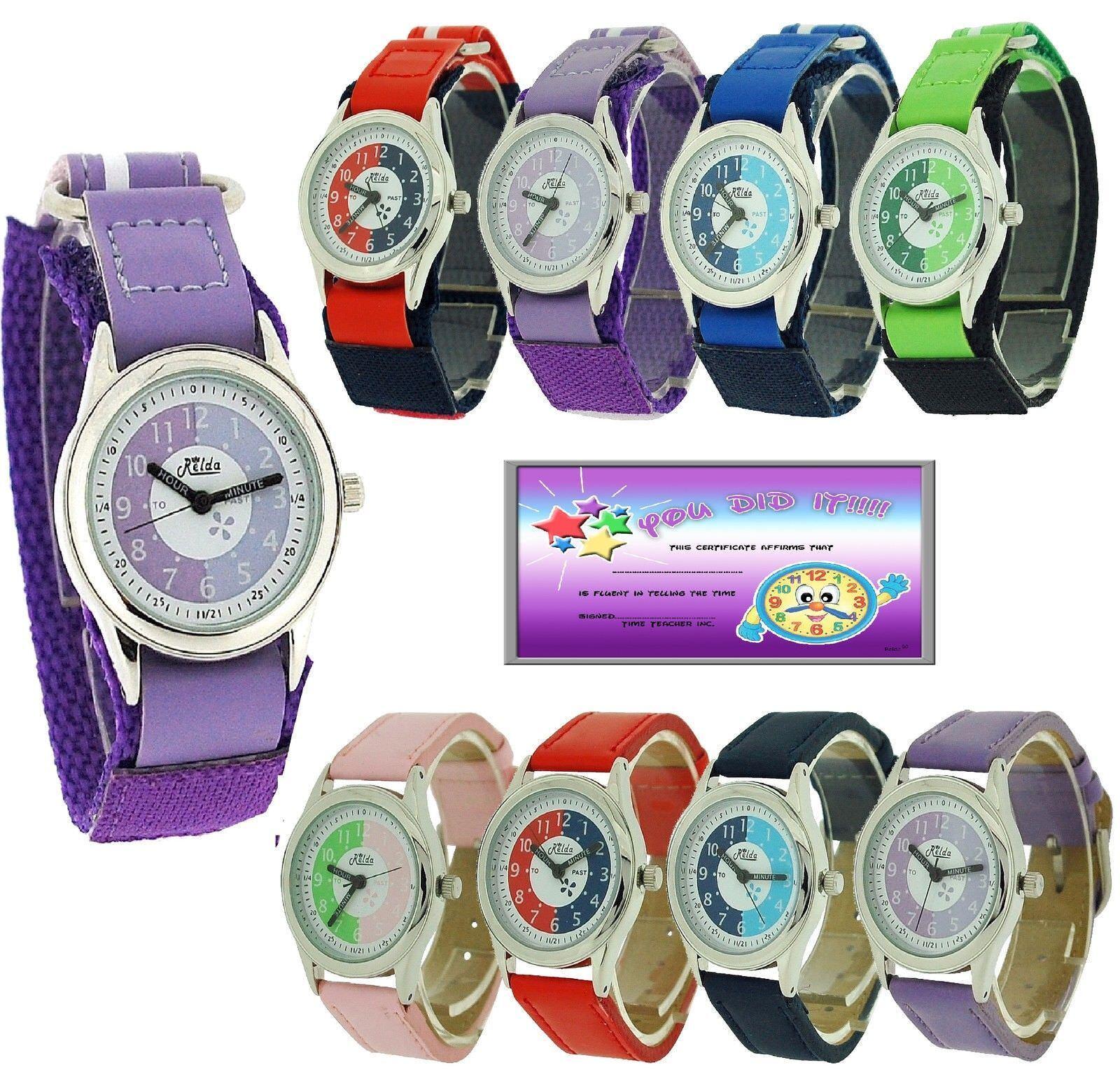 Relda Zeitlehre Armbanduhr Leicht Befestigen Junge Mädchen Kinder