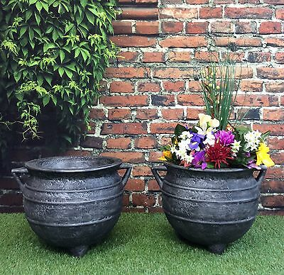 PACK OF 2 Witches Cauldron Garden Planters 12inch Cast Iron Effect / flower pot