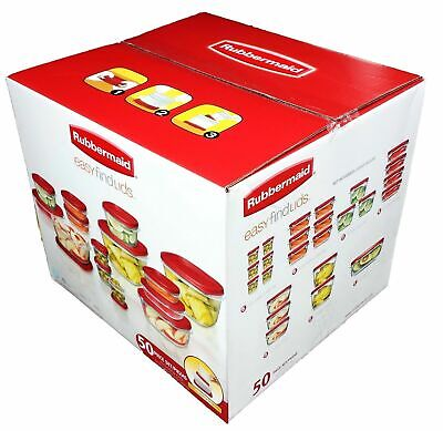 Rubbermaid Clear Plastic Food Storage Containers 50 piece Red Easy Find Lids