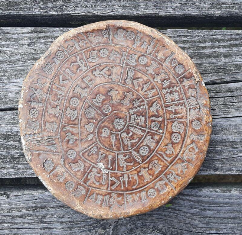 "Minoan Phaistos Disc Fired Clay Crete Knossos Handmade 7"" 1"" Thick Has Wear"